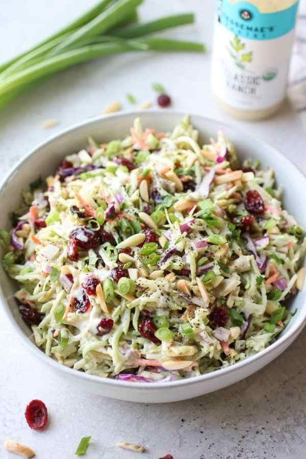 Photo of 5-Ingredient Creamy Ranch Broccoli Slaw in a white bowl.