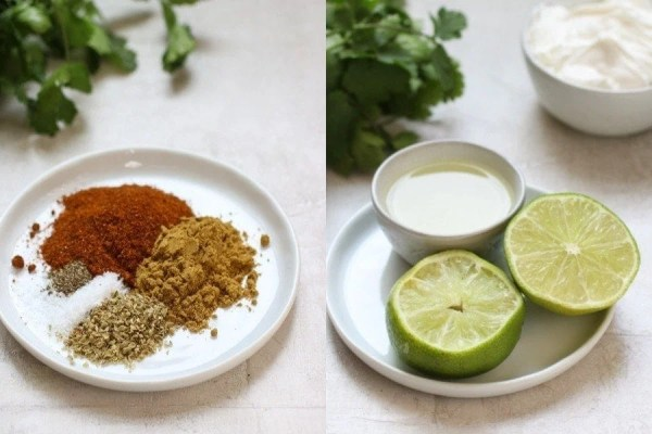 Two photos side by side. Left: small plate with Instant Pot Taco Soup spices. Right: small plate with lime cut in half with small bowl of lime juice.