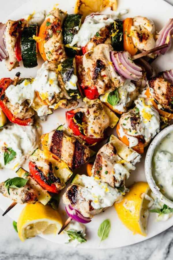 Photo of Greek Chicken Kebabs with Tzatziki Sauce.