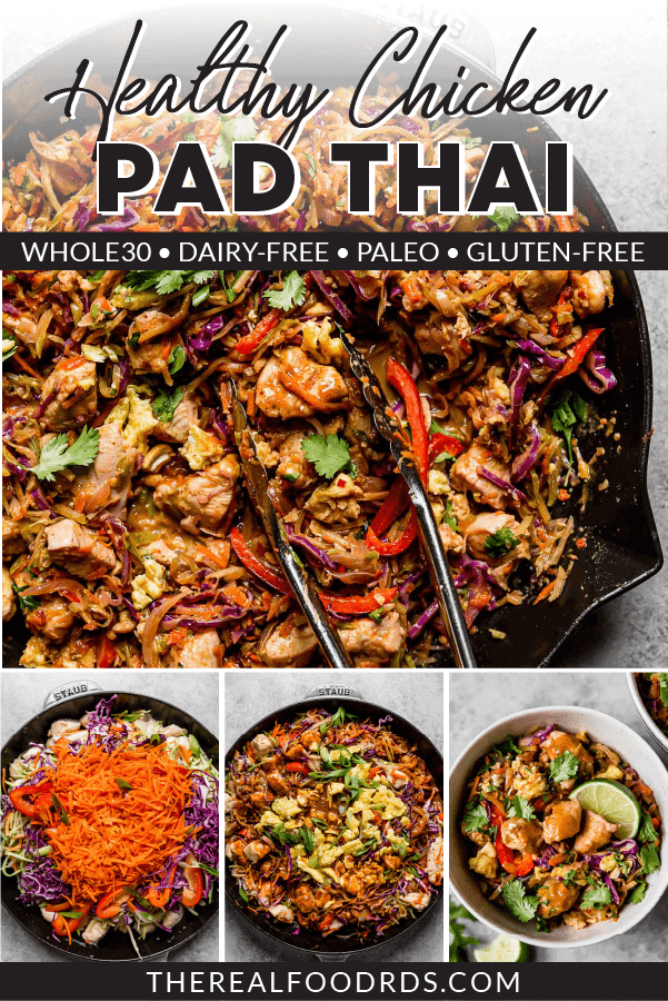 Healthy Pad Thai made noodle-free in a large cast iron skillet ready to be served.