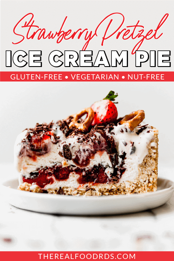 Pin image for Strawberry Pretzel Ice Cream Pie (photo has a slice on a plate)