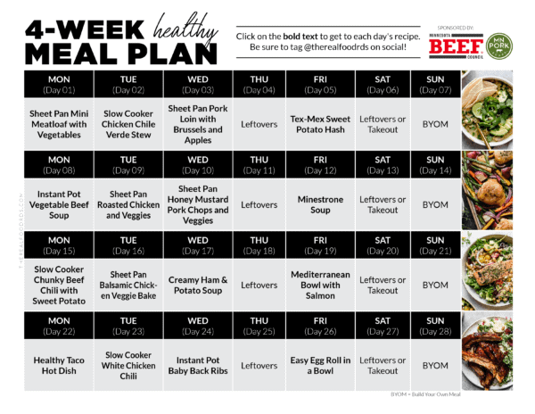 4-Week Healthy Meal Plan Overview