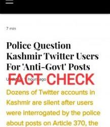 """Fact Check: """"Article-14"""" an online news portal depicted a misleading picture with incorrect detail about Cyber Police Kashmir"""