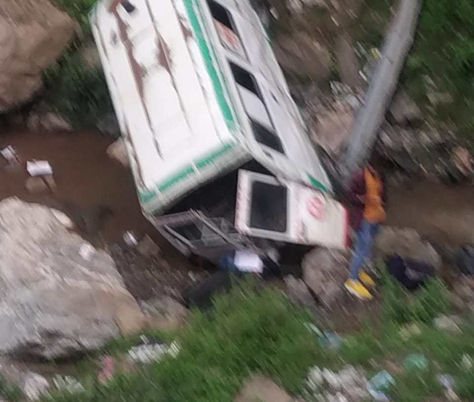 Elderly woman killed and two other Persons injured after an ambulance Meets Accident In Ramban