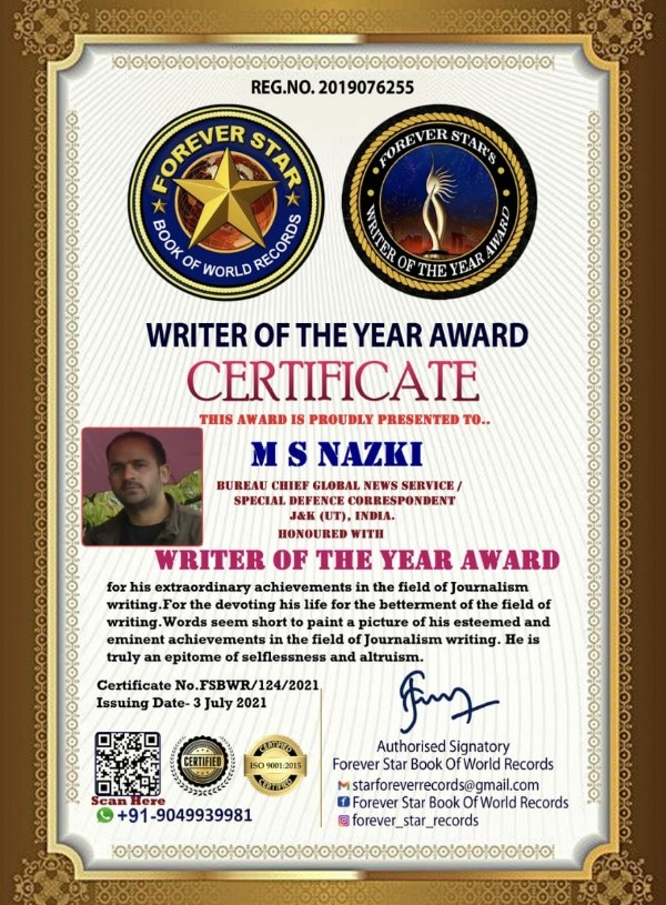 Nazki gets Best Writer Certificate Award Of The Year