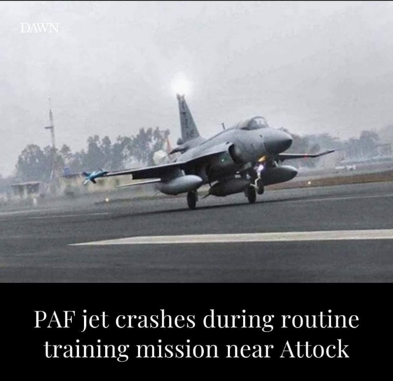 Pakistan Air Force (PAF) fighter trainer aircraft crashed near Attock during a routine training mission