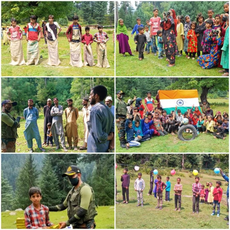 A Day with Company Commander was organised for local children by Army Camp, Manabal (Langate) at Sarvabali Dhoks