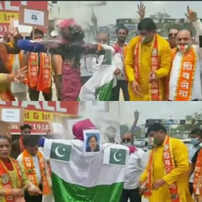 Shiv Sena registers strong protest on Kashmir Premier league in PoK, burns Pak PM's effigy