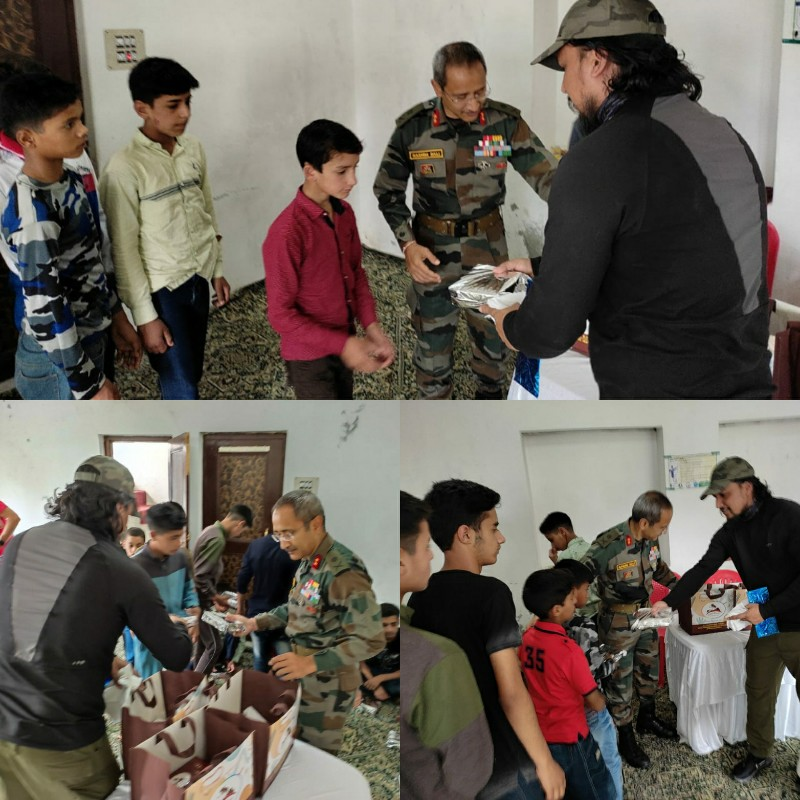 GOC Victor Force distribute books, clothes Food items among Orphans in Pulwama