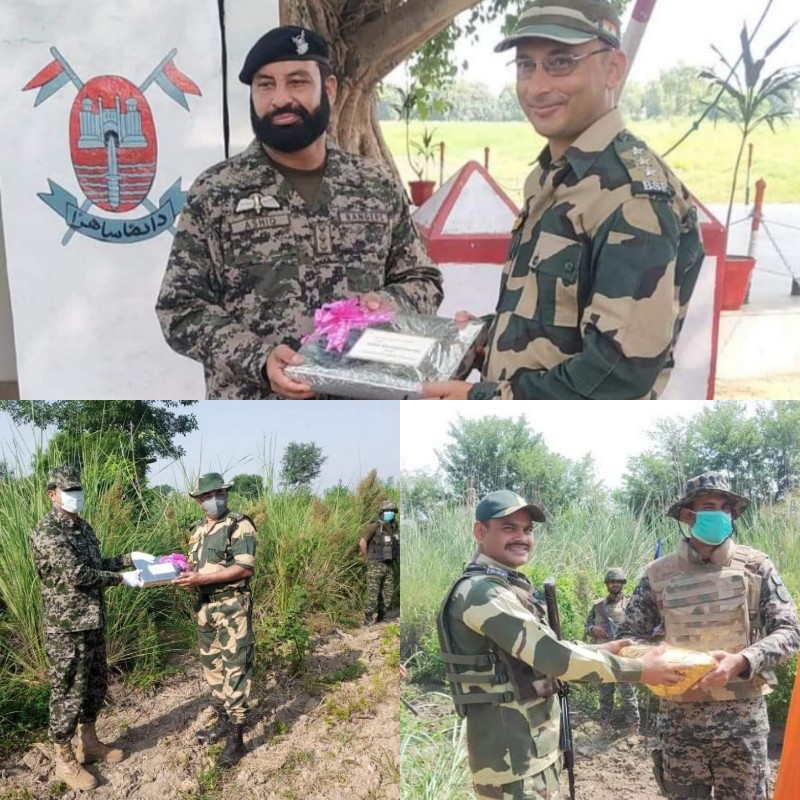 Exchange of sweets by Pakistan Rangers on occasion of Pakistan Independence day.