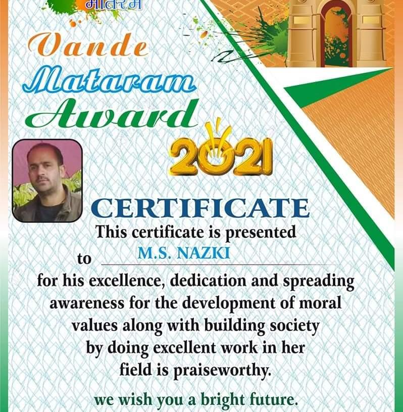 Nazki gets Vande Mataram Award