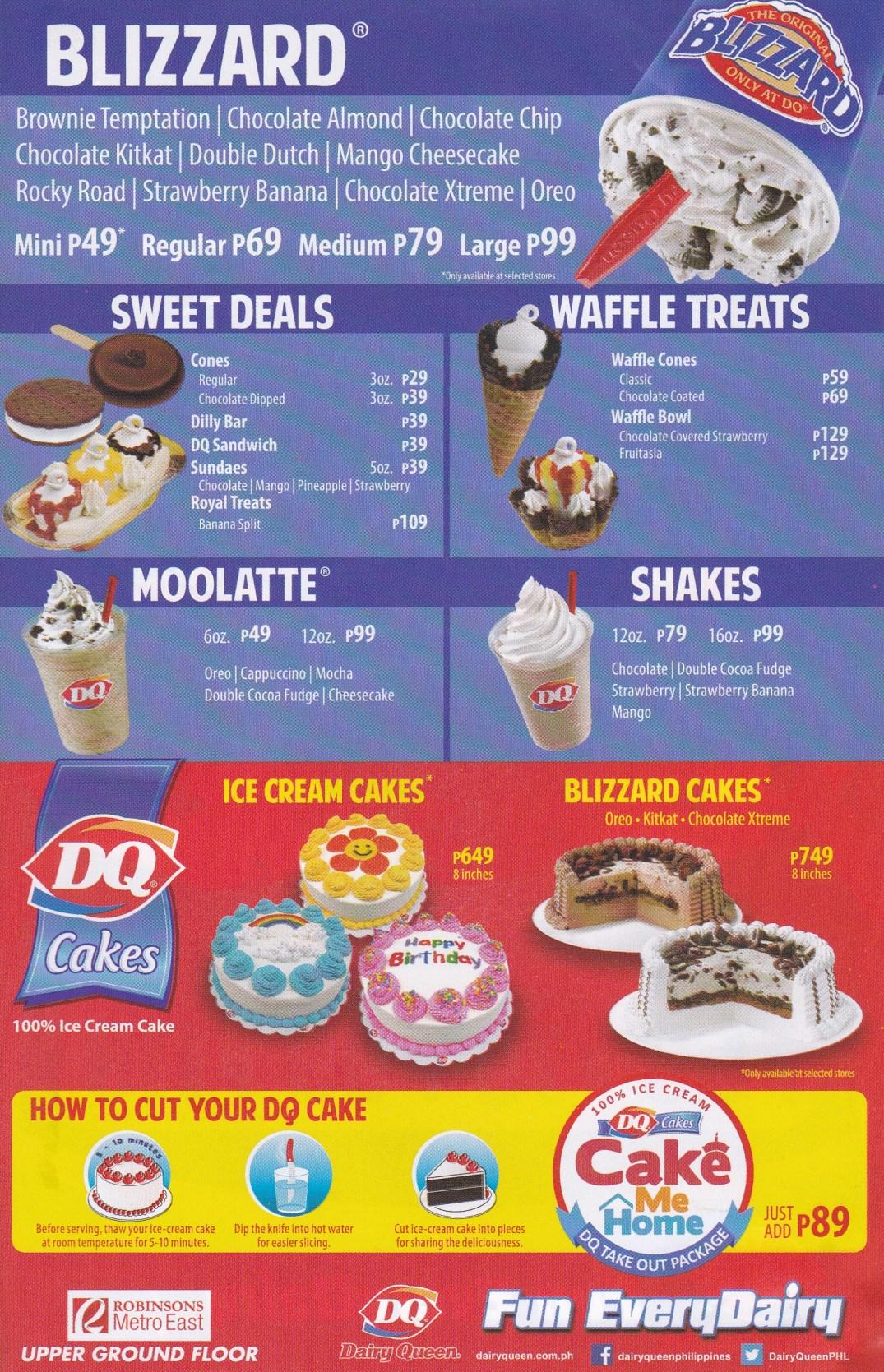Dairy Queen Blizzard Cakes Menu Prices