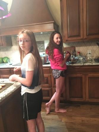 Gillian and Shaelyn making dessert