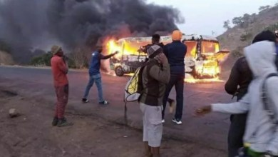 Photo of NPFL: Wikki Tourists team bus catches fire near Jos
