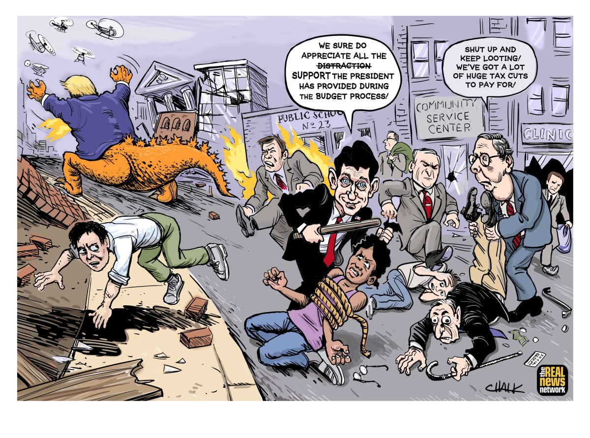 looters and donald trump in the streets cartoon