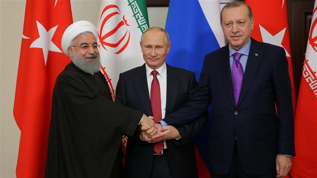 Ayatollah Khamenei of Iran, Vladimir Putin of Russia, and Recep Tayyip Erdogan of Turkey