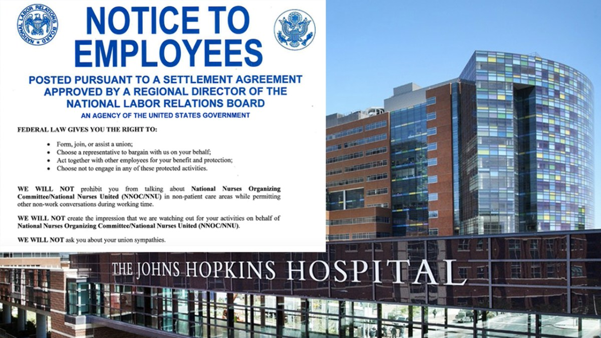 Hopkins Hospital and Nurses Reach Settlement On Unionization Efforts