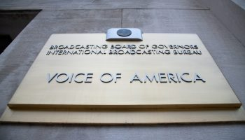 A general view of the Voice of America (VOA) sign on its headquarters in Washington, D.C., on July 31, 2020 amid the coronavirus pandemic