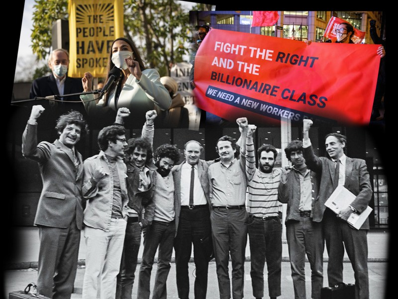 Alexandria Ocasio Cortez (top left); A banner advocating for a worker's party (top right); The Chicago 7 and their lawyers (bottom)
