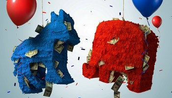A blue donkey and red elephant pinata surrounded by balloons