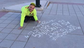 Eric Brandt protesting in Denver, Colorado, as part of the Occupy Denver movement