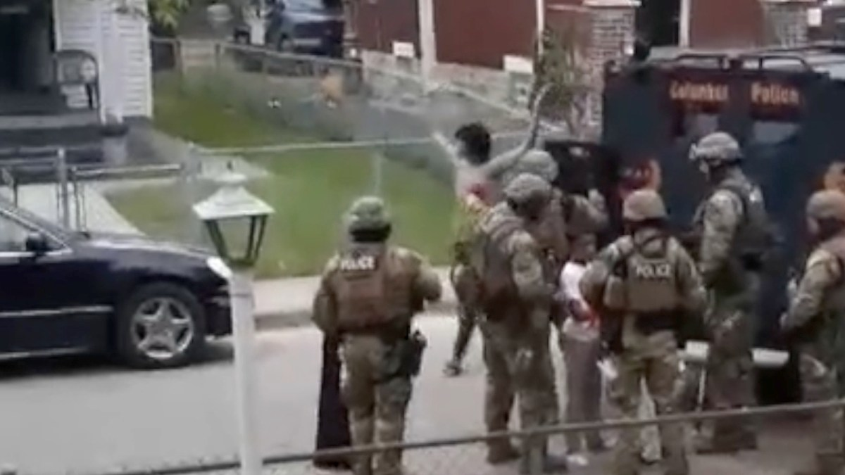 A Columbus, Ohio, SWAT team serve a search warrant and turn to arrest resident Nick Pettit