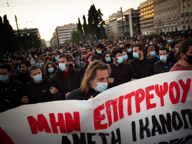 Protest supporting Dimitris Koufontinas demands, in Athens, Greece