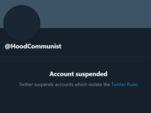 Screenshot showing the @HoodCommunist Twitter account was suspended