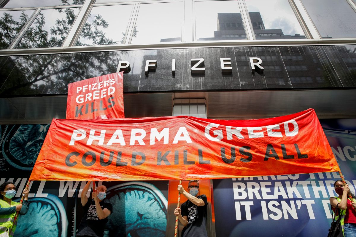 Activists rally for global access to the coronavirus disease (COVID-19) vaccine, outside Pfizer World Headquarters in New York City, New York, U.S., July 14, 2021. REUTERS/Brendan McDermid