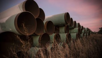 Miles of unused pipe, prepared for the proposed Keystone XL pipeline