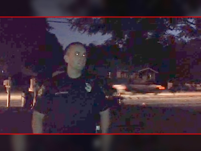 Screenshot from James Madison's video of a police officer threatening arrest