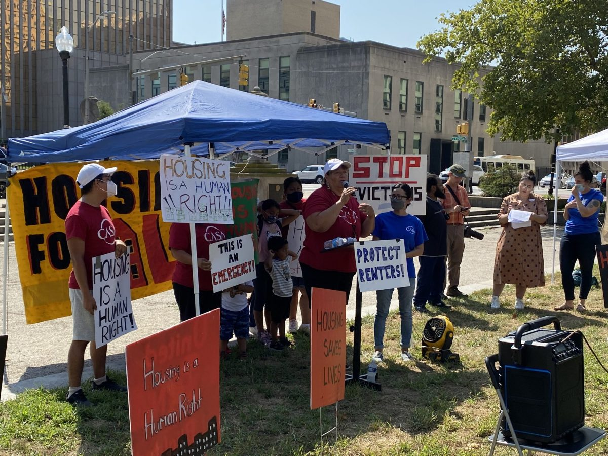Housing advocates rallied in front of Baltimore City Hall on Aug. 11 to demand increased protection for renters before the state of Maryland's eviction moratorium expires on Aug. 15.