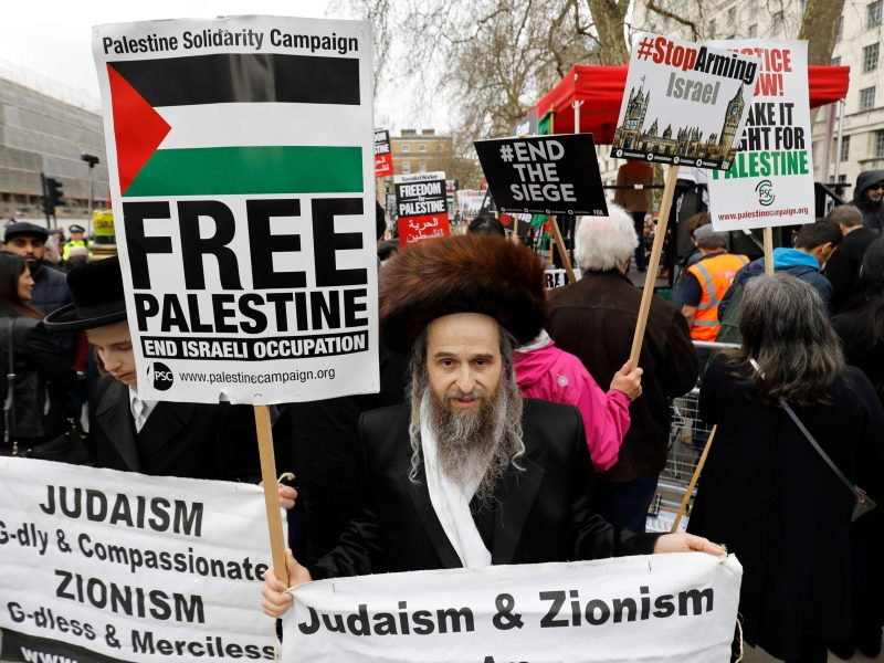 Ultra-Orthodox Jewish anti-Zionism protesters join a demonstration
