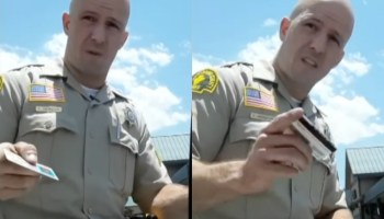 A San Bernardino sheriff pictured during a traffic stop
