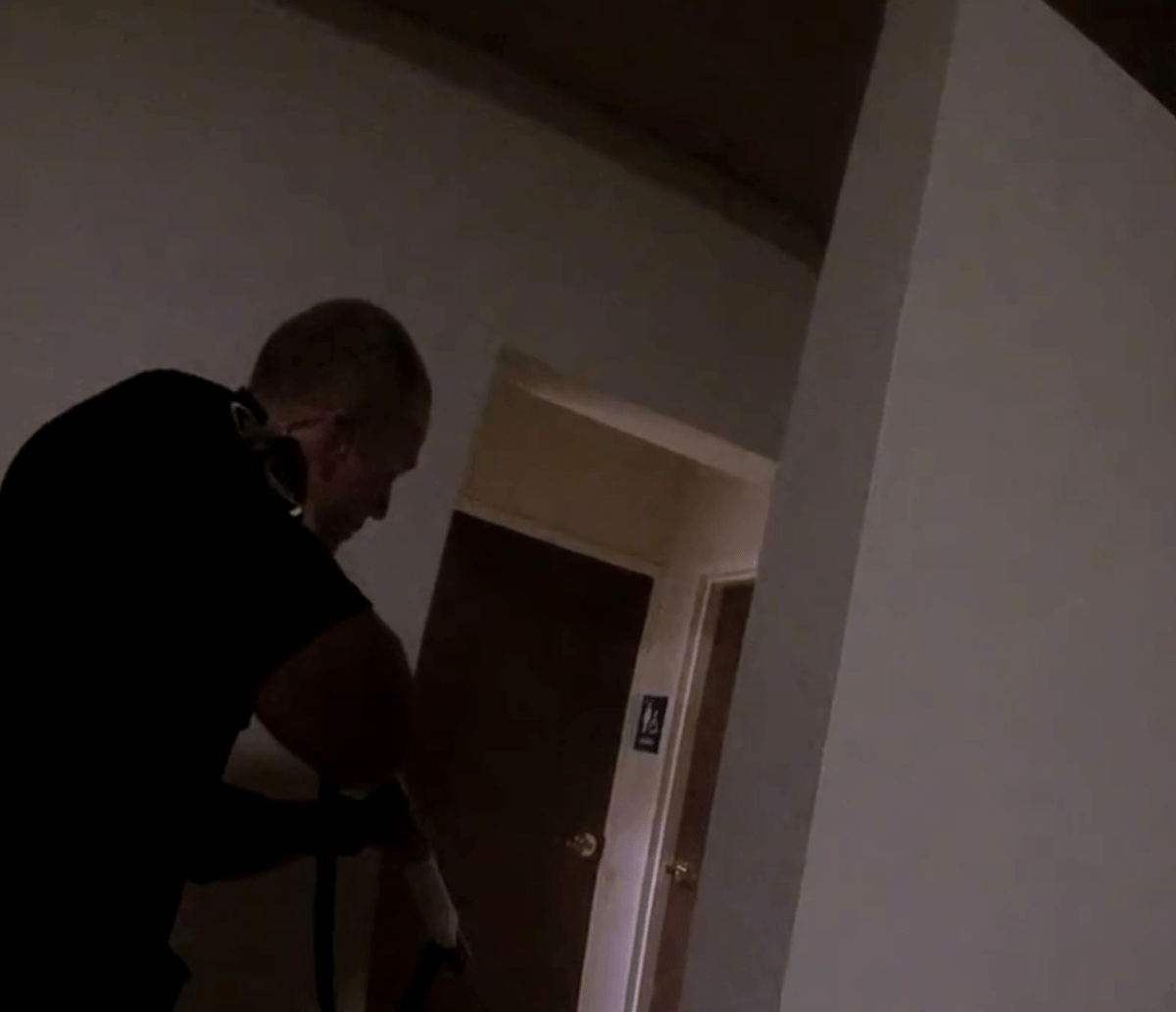 Screenshot from body camera footage of the shooting of Tyler Rushing