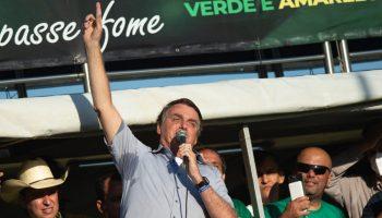 President of Brazil Jair Bolsonaro speaks to his supporters
