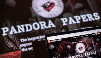 A photograph illustration shows the logo of Pandora Papers, in Lavau-sur-Loire, western France, on October 4, 2021