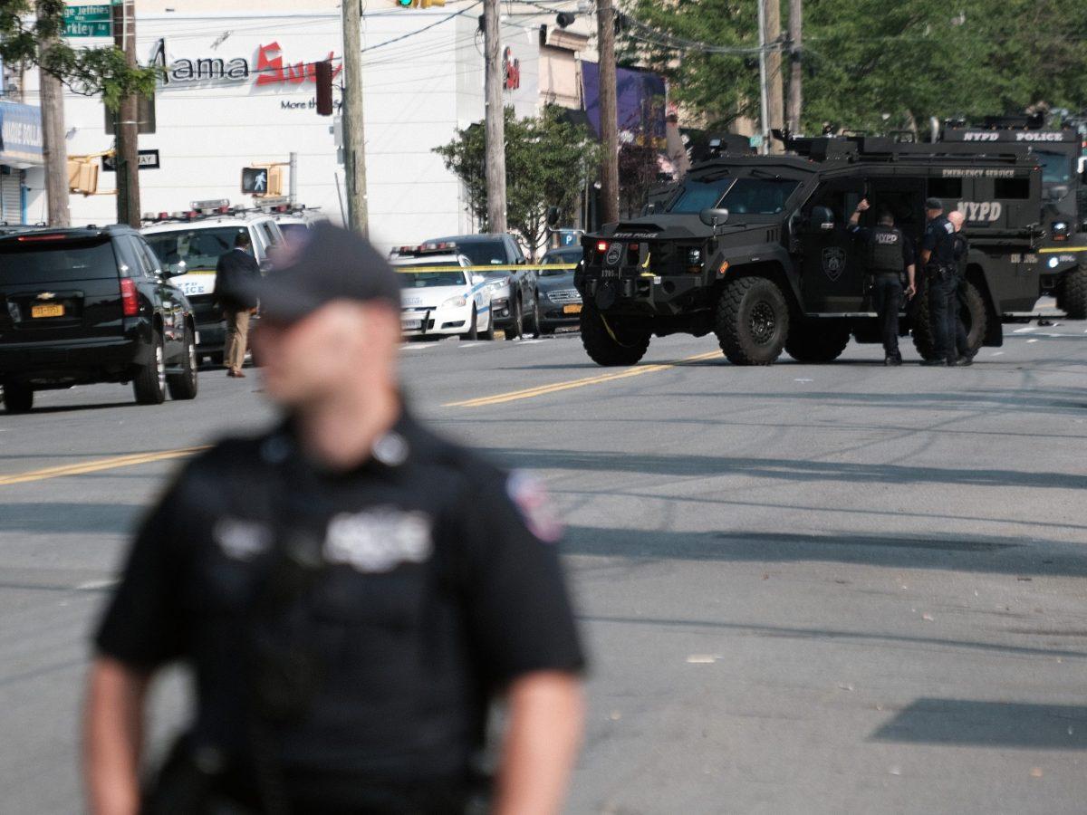 Police gather at a crime scene