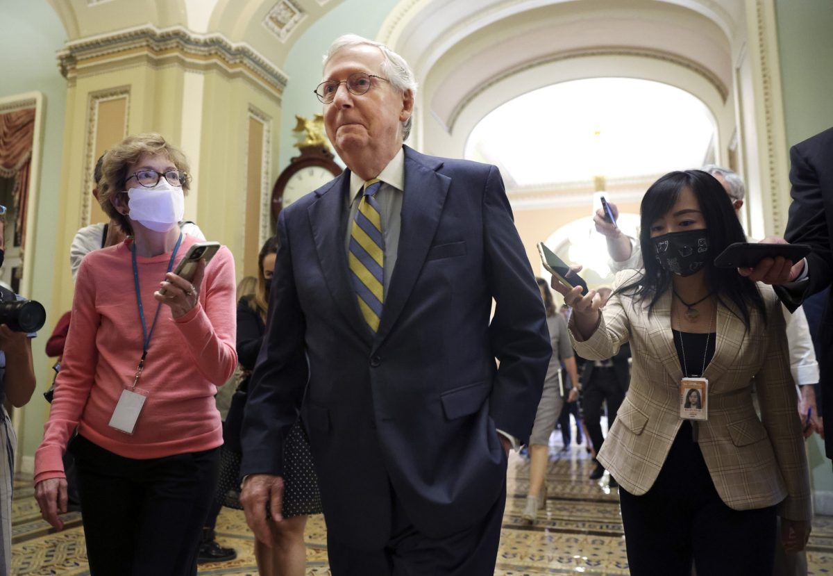 Senate Minority Leader Mitch McConnell (R-KY) walks to the Senate Chambers at the US Capitol