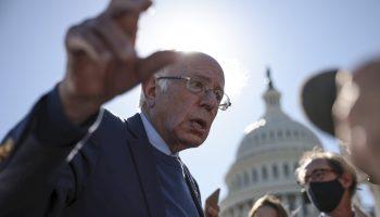 Sen. Bernie Sanders speaks with reporters