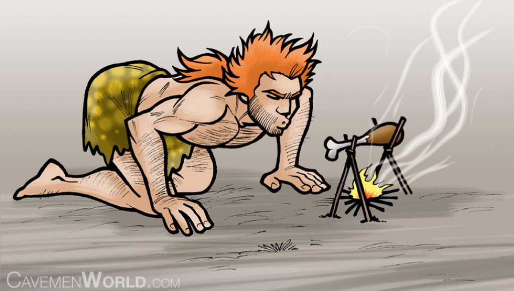 the-basics-of-primitive-survival-cooking-a-young-strong-caveman-is-stoking-the-fire-to-cook-a-chicken-leg