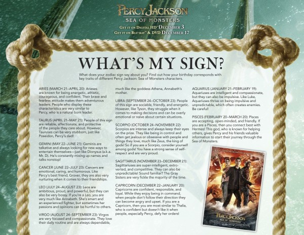 Percy Jackson Sea of Monsters Printable Activity Sheets and DVD
