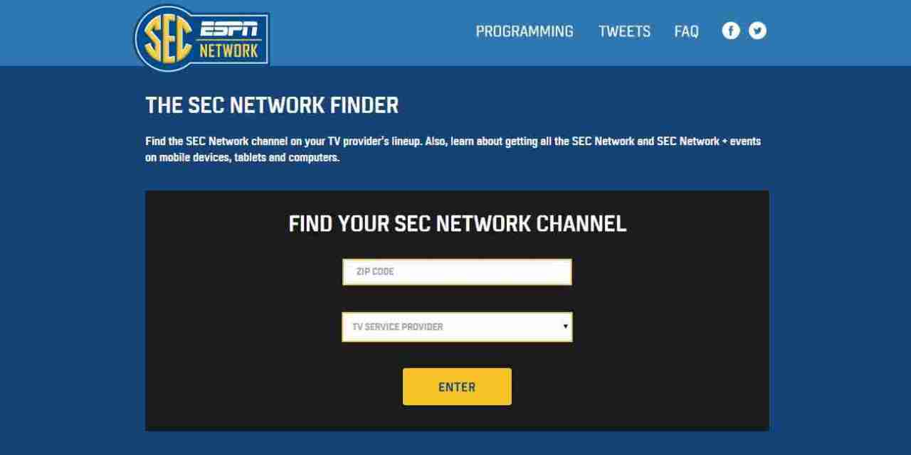 Find the SEC Network on your provider's lineup