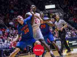 Coleby being fouled by Gators
