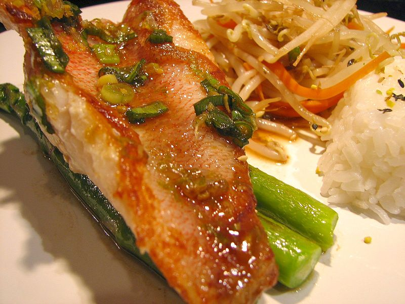 Lime Ginger Red Snapper - By Parkerman & Christie from San Diego, USA (Pan-fried Red Snapper Fillet) [CC BY 2.0 (http://creativecommons.org/licenses/by/2.0)], via Wikimedia Commons2
