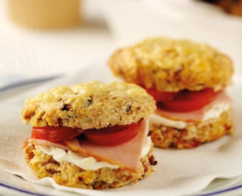 Breakfast Scones with Ham and Tomato