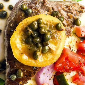 "Pan-Seared Tuna Steaks with ""Melted"" Lemon-Caper Sauce"