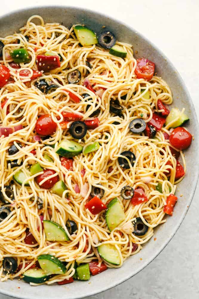 California spaghetti salad in a gray bowl.
