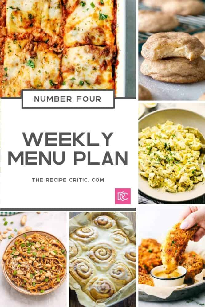 Weekly menu plan collage of all the recipes photos