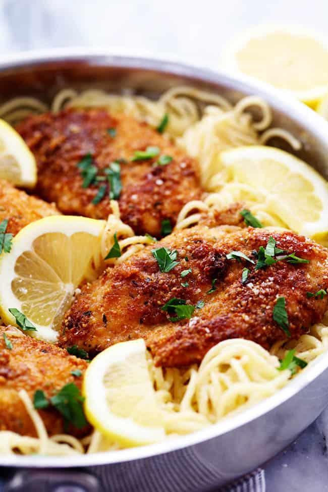 parmesan chicken with creamy lemon garlic pasta the recipe critic